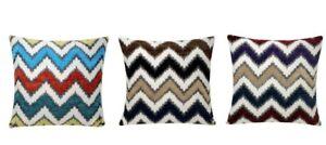 Zigzag Stripes Plush Chenille Velvet Square 17x17 inch Cushion Cover Pillowcase