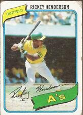 RICKEY HENDERSON 1980 Topps Rookie Card Oakland A's Damaged
