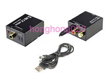 SPDIF OptionToslink Coax to Analog L/R RCA Audio Convert+1M Cable Digital Black