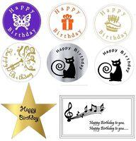 Happy Birthday Designer Stickers Labels Birthday Envelope Seals gold silver x50
