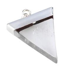 Rock Crystal Quartz Healing Wicca Dowsing Gemstone Triangle Silver Charm Pendant