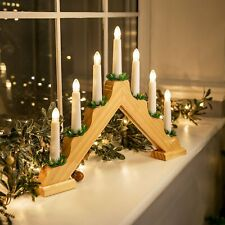 Candle Bridge Light Christmas Decoration Main Voltage Wooden Warm White 7 LED
