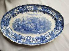 """Très   ancien plat ovale """" Burgenland bleu """" De Villeroy  Boch Et Mettlach."""