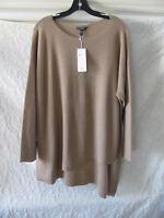 Eileen Fisher Asymmetrical Hem Tunic Sweater-Merino Rib -Camel-Size 2X -NWT $298