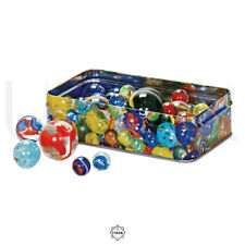Tin of Marbles - 60 Traditional Assorted Size & Colour Glass Marbles Vintage Toy