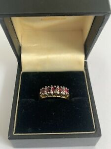 Vintage 18K 750 Yellow Gold Ruby And Diamond Cocktail Ring