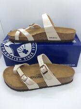 BIRKENSTOCK Womens Mayari Pearl White Birko Flor Sandal Shoes Sz 8 EU39 ZB6-51