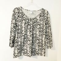 Hot Cotton Snakeskin Print 100% Cotton Scoop Neck Top Women's Size Small