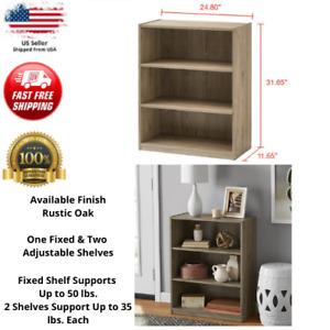 3-Shelf Wood Bookcase Wide Storage Display Book Bookshelf Adjustable Rustic Oak