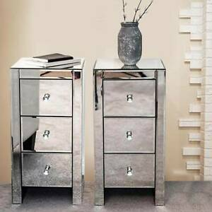 2X Silver Mirrored Bedside Tables Units Cabinets Three Drawers Crystal Handles