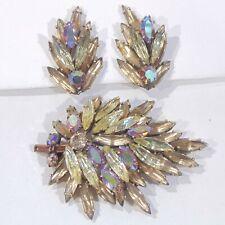 Vintage signed Regency jonquil yellow navettes AB rhinestone pin brooch earrings