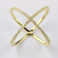 Womens 925 Sterling Silver Criss Cross CZ Micro Pave Setting X Ring Gold Plated