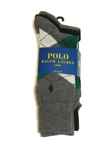 Polo Ralph Lauren NEW 3 Pairs Casual Dress Socks Argyle Green Black Gray Men NWT