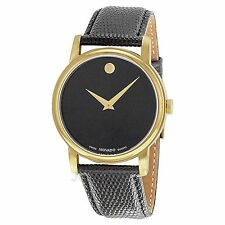 NEW Movado 2100005 Mens Museum Stainless Steel Watch Black Leather Diamond Watch