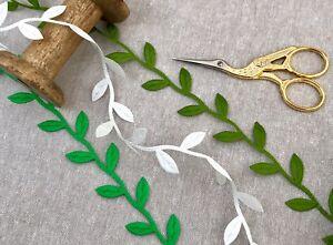 "1"" Satin Cut Out Leaf Trim - Green Leaf Ribbon - Autumn Crafts - Ivory Leaves"