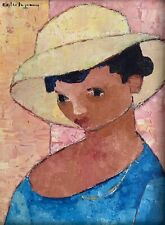 SUPERB 1960/70s FRENCH SIGNED OIL - HEAD PORTRAIT LADY IN HAT - MODERNIST WORK