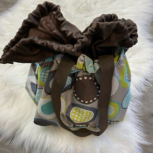 Thirty One Cinch it up Lunch Tote Minty Chip Thermal Drawstring Bag Sack