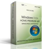Windows Vista Home Premium 64 Bit Boot Repair Recovery re-install DVD Disc HPSP2