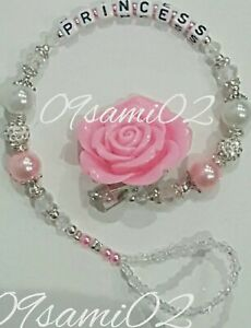 Bling Rose Shamballa ❤ Crystal Romany Dummy Clip Personalised White/Pink ❤