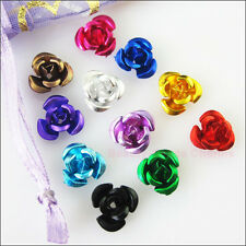 120Pcs Mixed Aluminum Beautiful Flower Spacer Beads Charms 12mm