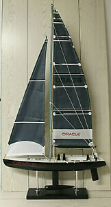 MODELLINO ORACLE USA 76 BARCA A VELA REGATA COPPA AMERICA in LEGNO IDEA REGALO