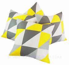 Set of 4 Yellow & Grey Linen Geometric Design 18 inch Cushion Covers Geo