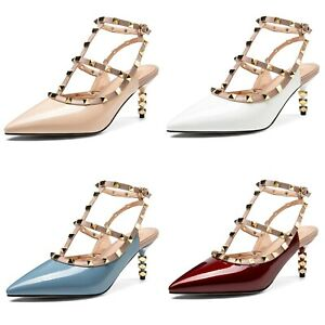 Women's High Heel Studded Strap Pumps Patent Leather Pointed Toe Slingback Shoes
