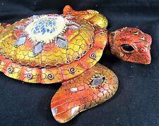 Sea Turtle Patina Jeweled & Mirrored Decorative Wall Art Sunset