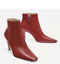 Zara  Red Leather High Heel Ankle Boots With Mini Studs Size 40 UK 7 BNWT