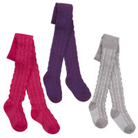 3 Pack Baby Babies Girls Plain Tights Cotton Blend Cable Knit Sofy Multipack