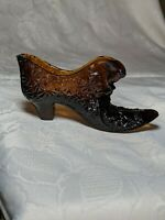 Vintage Fenton Dark Amber Daisy and Button Pattern Cat Head Decorative Shoe Boot