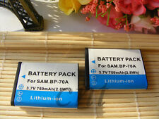 2X BP-70A BP70A Battery for Samsung SL50 ES65 ES70 PL80 PL100 WP10 AQ100