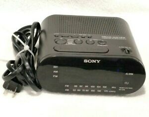 Sony Dream Machine Alarm Clock Dual AM FM Time Works Black Radio ICF-C218
