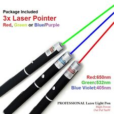 Pack of 3 Green Red Blue/Purple Dot Laser Lazer Light Pointers Pen Powerful Toy