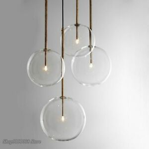 Nordic Clear Glass Pendant Lights Globe Chrome Ball Lamp Dining Kitchen Hanging