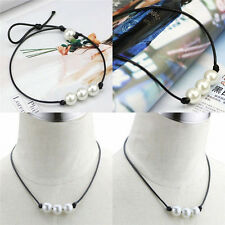 Fashion Women Black Leather Cord Pearl Pendant Choker Necklace Jewelry