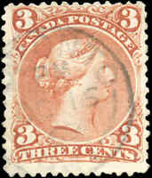 Used TORONTO Canada F Scott #25 3c EARLIER DATE 1868 Large Queen Stamp