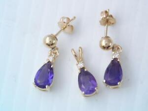 GORGEOUS SOLID 14K GOLD AMETHYST & DIAMOND EARRINGS & PENDANT SET