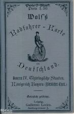 Wolf Radfahrer Karte von Deutschland Thüringen Bayern um 1894