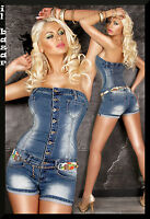 tuta jeans donna fascia tutina corta cinturino tessuto  taglia 40;42;44;46