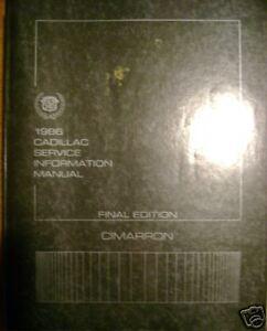 1986 Cadillac Cimerron Final Service Repair Manual