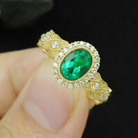 3Ct Oval Cut Green Emerald Diamond Halo Engagement Ring 14K Yellow Gold Finish