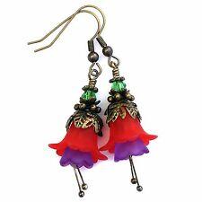 Brass Fuchsia Flower Earrings, Dangle Lucite Red Flower Earrings, Gifts for Mum