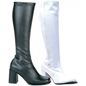 GoGo Boots Adult Womens Chunky High Heel Shoes 60s 70s Costume Fancy Dress