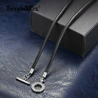 """4mm 18-28"""" Black Man-made Leather Rope Necklace Toggle Clasp Jewelry for Men Boy"""