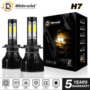 4-Sides H7 Low High Beam LED Headlights Bulbs Kit 180W 36000LM 6000K High Power