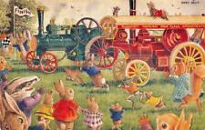 """Traction Engine Race"" Fantasy Animals Art by Racey Helps ca 1960s Postcard"
