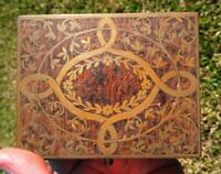 Old Antique Brass Burl Wood Wooden Box Vanity Dresser Jewelry Trinket