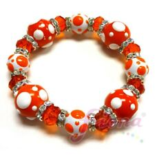 Delicious Orange Polka Dot Hand Painted Glass Stretch Bracelet Woman Fashion