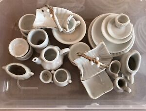 Dolls House White Crockery Job Lot Preowned Various Conditions